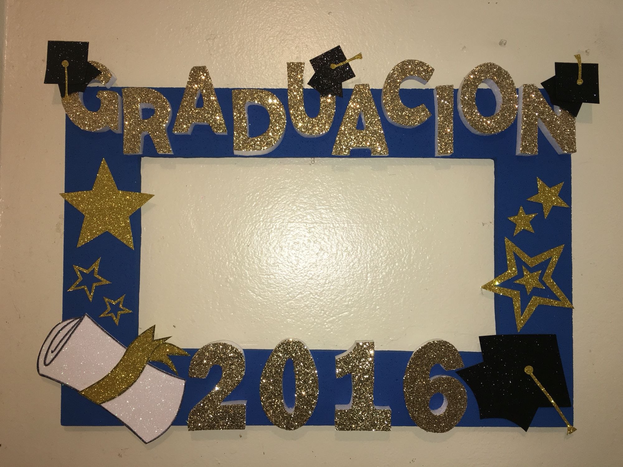 Graduation photobooth frame blue with stars marco de fotos para ...