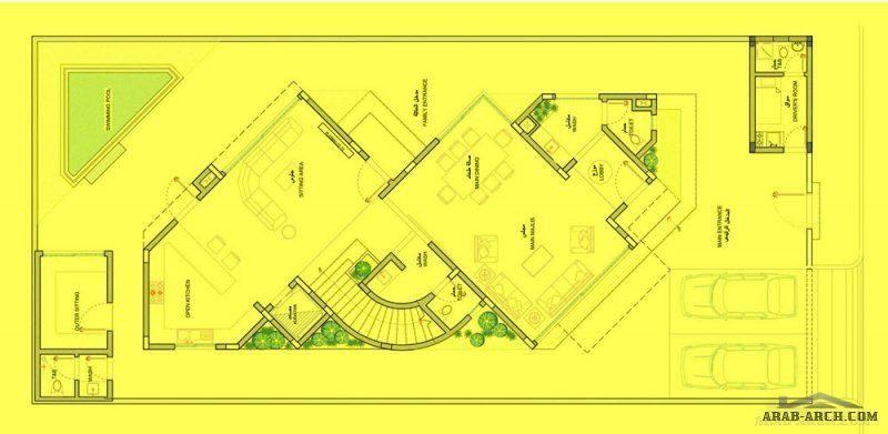 تصميم فيلا منازل جدة ساحة الارض 420 M 2 مساحة مسطح البناء 435 M 2 Villa Design Office Interiors Design