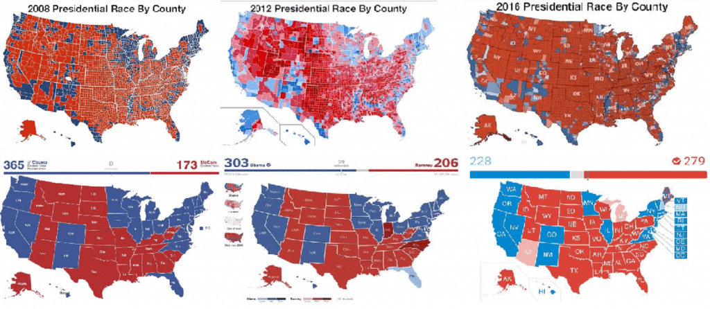 Electoral and County Election Comparison Map 2008 2012 2016