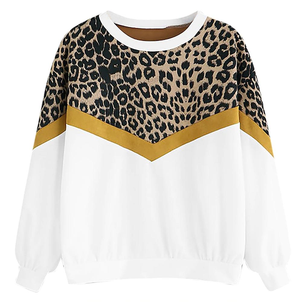 Vanbuy Womens Leopard Animal Print Shirt Long Sleeve Lightweight Pullover Sweatshirts Casual Fall Tops Blouses
