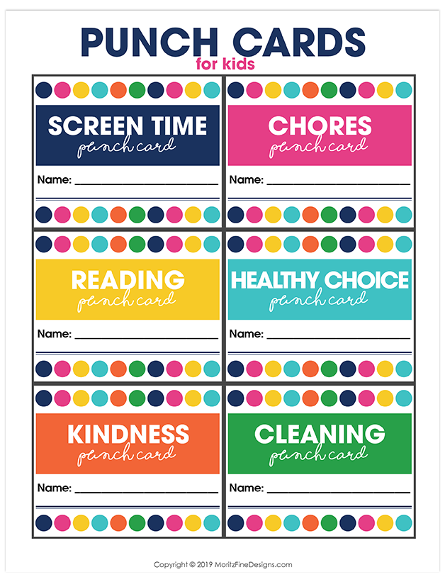 Printable Punch Cards For Kids Behavior Punch Cards Punch Cards Kids Rewards