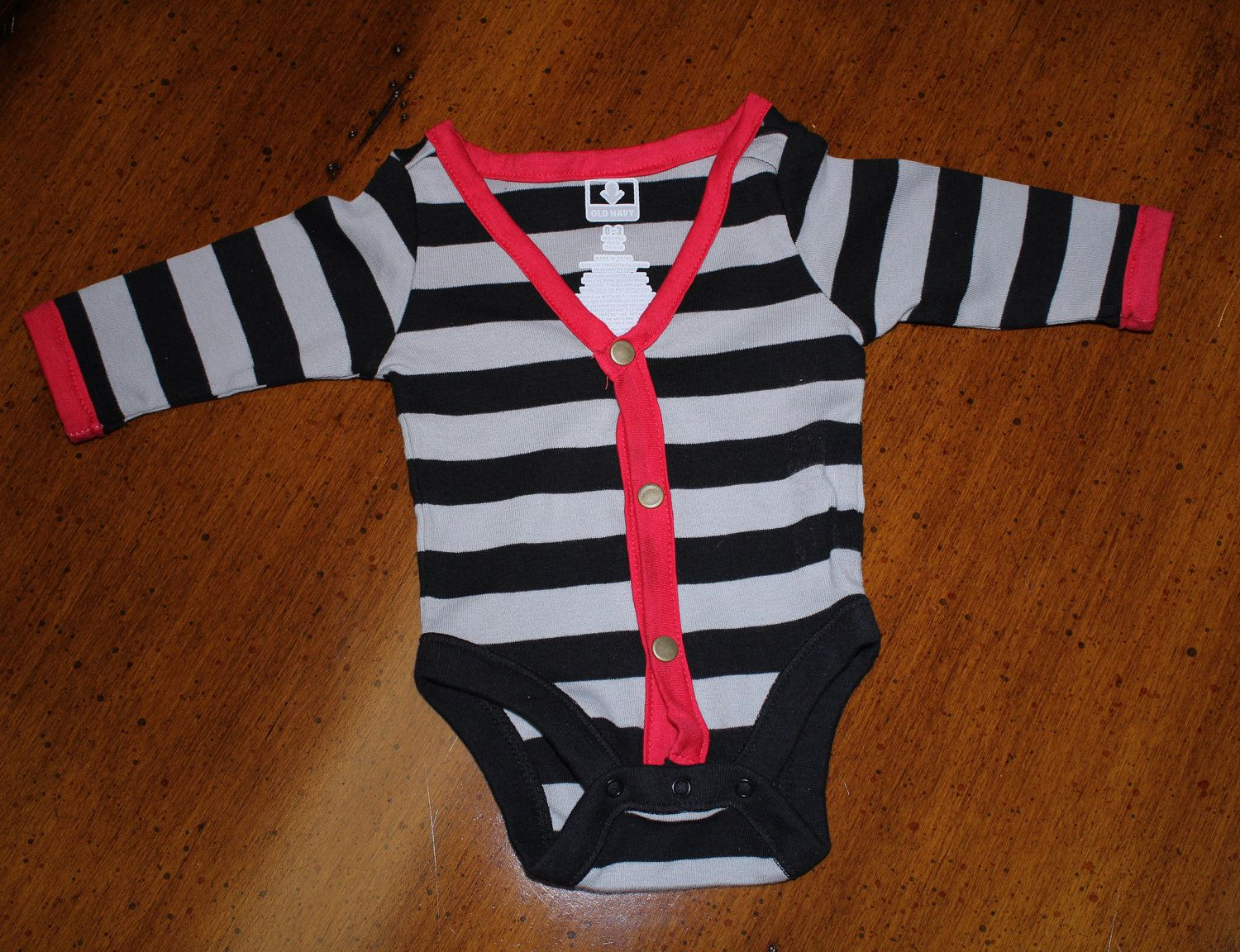 Striped+VNeck+Cardigan+Baby+Onsie+with+by+DichotomyArts+on+Etsy,+$22.00
