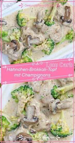 Pollo basso contenuto di carboidrati e broccoli con funghi