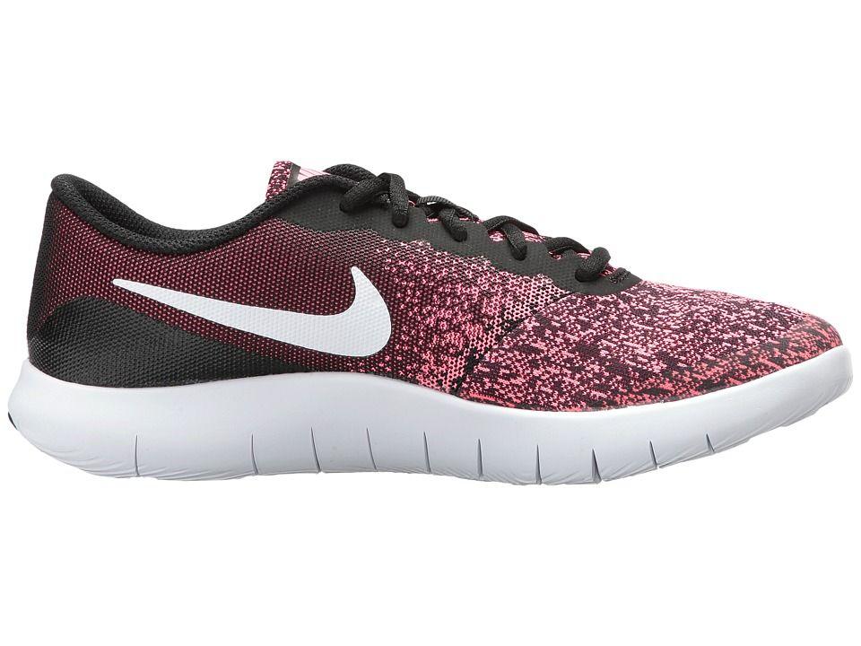 Nike Kids Flex Contact (Big Kid) Girls Shoes Black White Racer Pink 59c7f1e8454