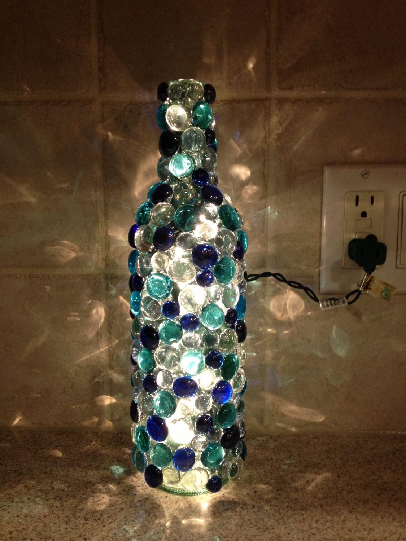 Bottle Lamp Aqua Blues Clear In 2020 Glass Bottle Crafts Wine Bottle Art Bottles Decoration