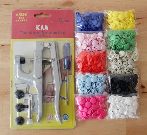 KAM Snap Pliers Kits with 200 Sets KAM Size 20/T5 Plastic