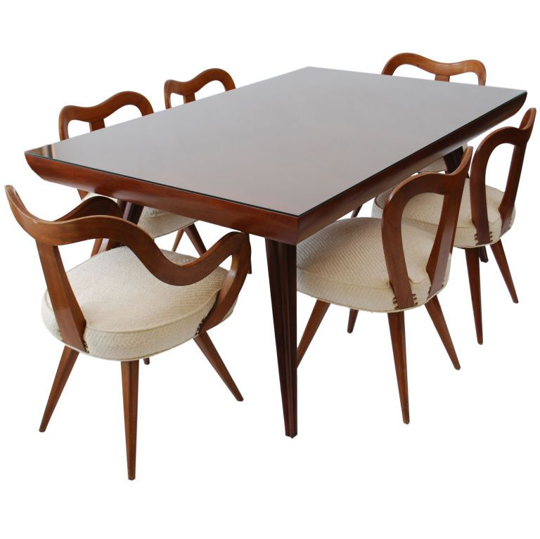 Vladimir Kagan Dining Table And Chairs Spoon Back Circa 1948