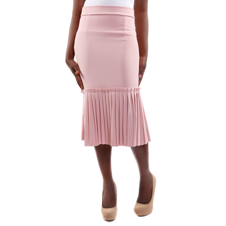 Hadari Women's Pencil Fashion Skirt With Pleated Hem