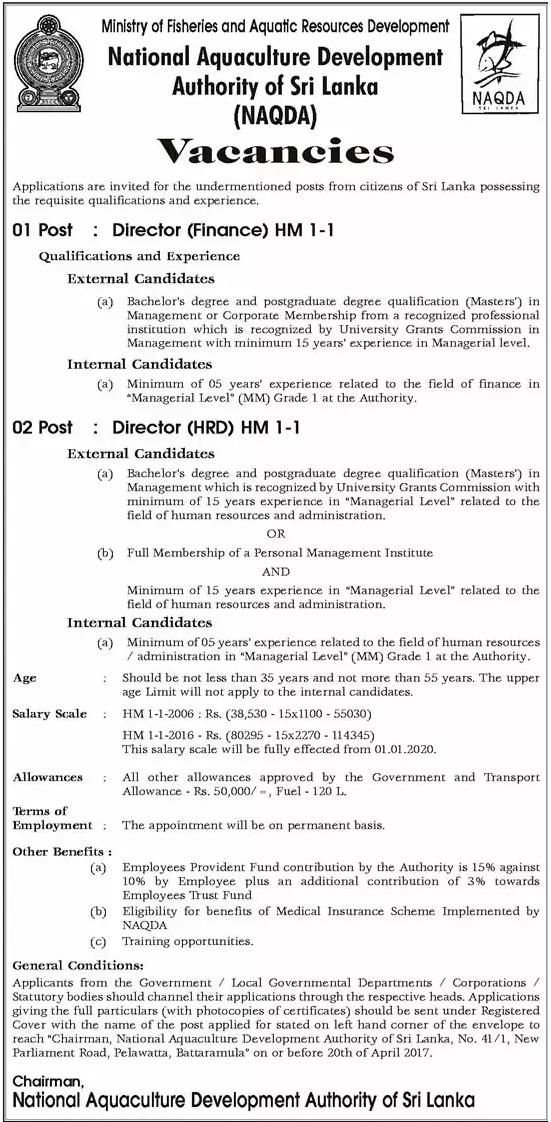 Vacancies At National Aquaculture Development Authority Of Sri