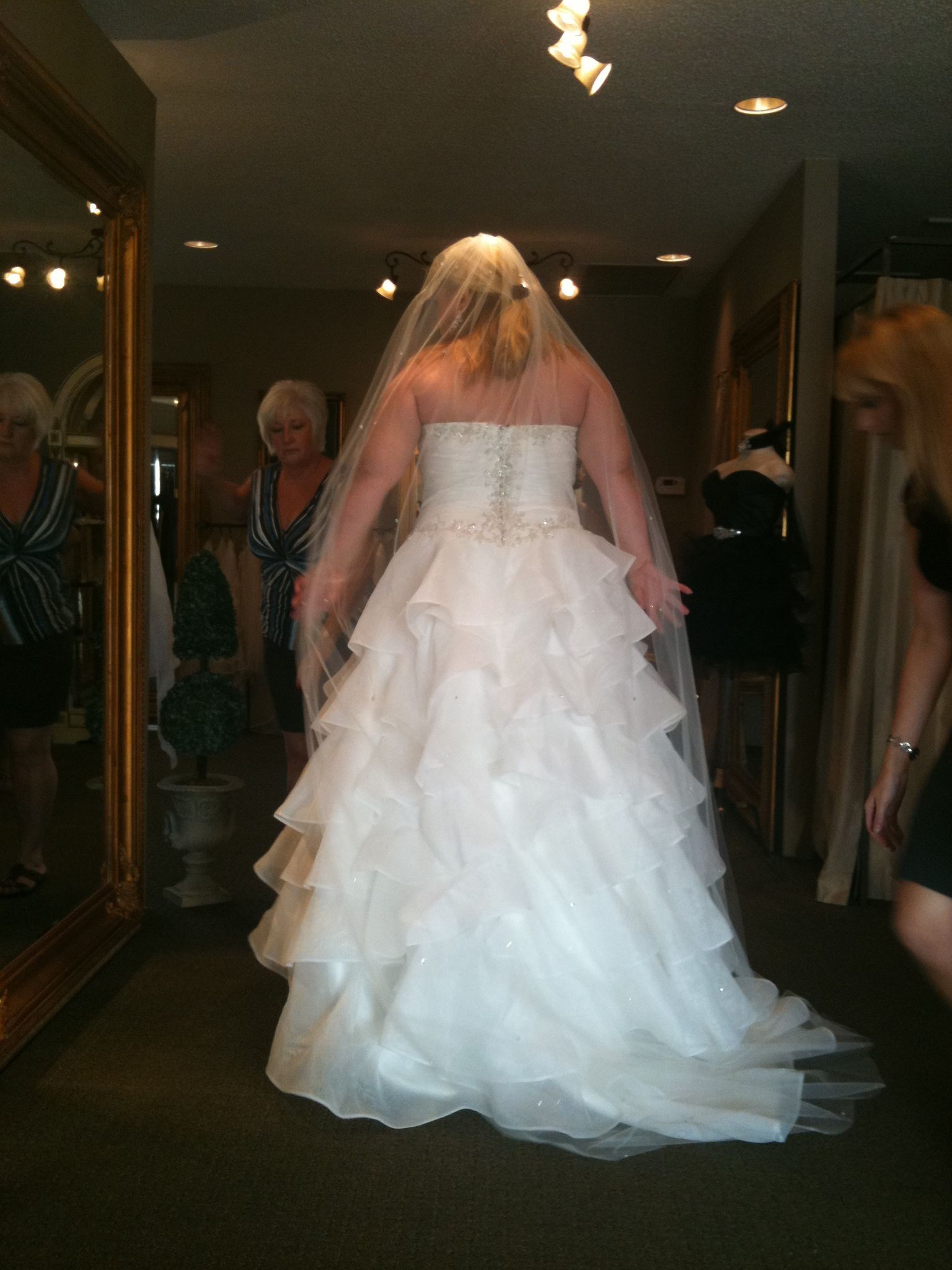 My wedding veil. It was a little longer than my dress and had bling scattered throughout. LOVED IT!!