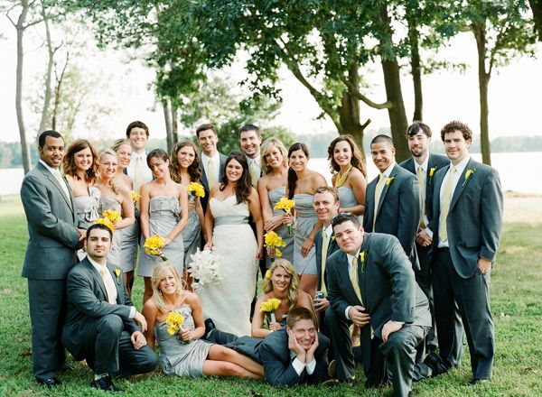 With charcoal gray wedding dresses for the girls, and light gray ...