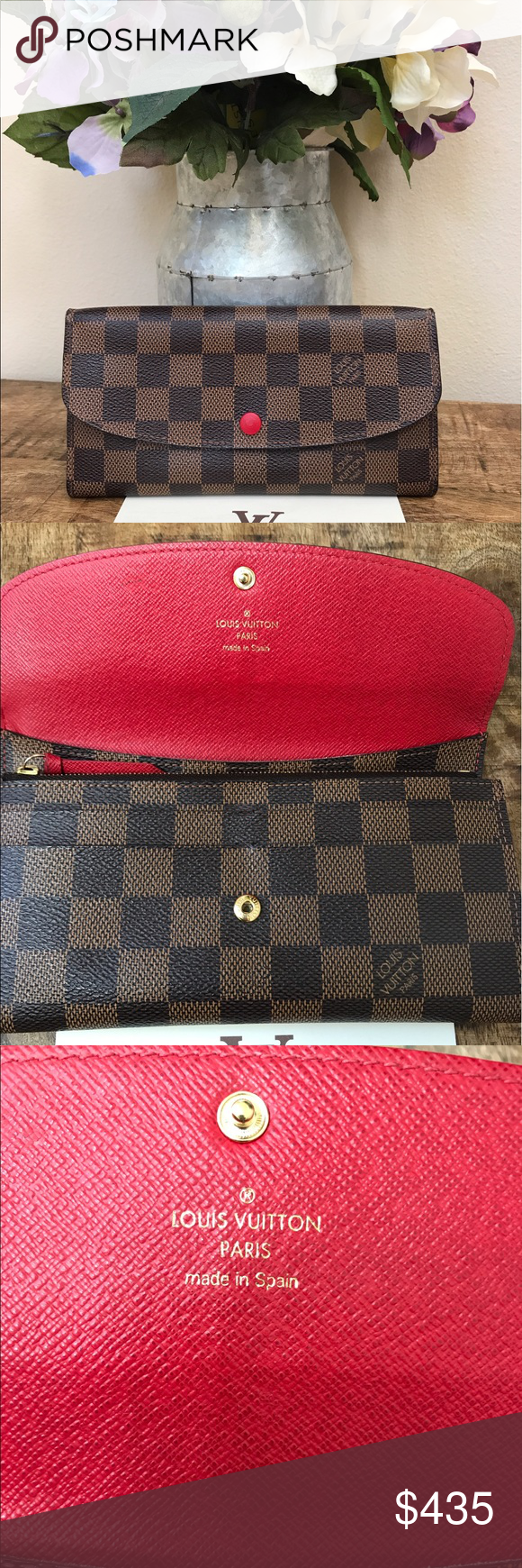 1f3587845f08 Authentic Louis Vuitton Emilie Wallet Damier Great condition! Glazing can  be reglazed at LV. Button and card slots in perfect condition. 385  on p.