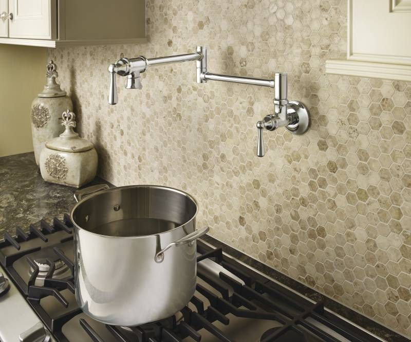 Traditional Pot Filler Chrome Two Handle Kitchen Faucet