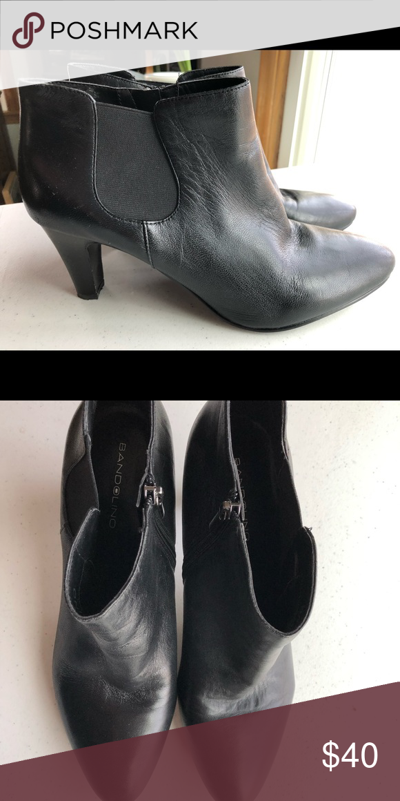 a33dc2e5f1c Bandolino Black Leather Heeled Ankle Boot sz 11 Like new! Worn only ...