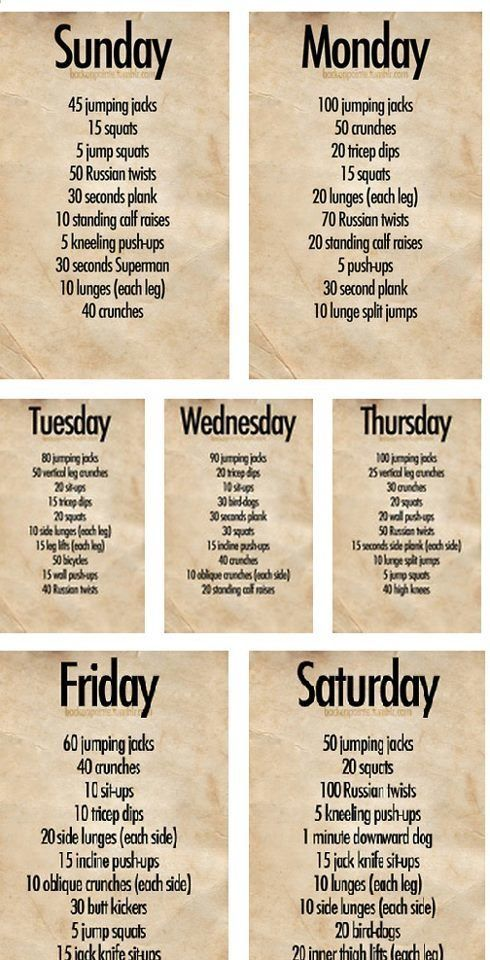 Weekly Workout Plan  Weekly Workout Plans Workout Plans And Cardio