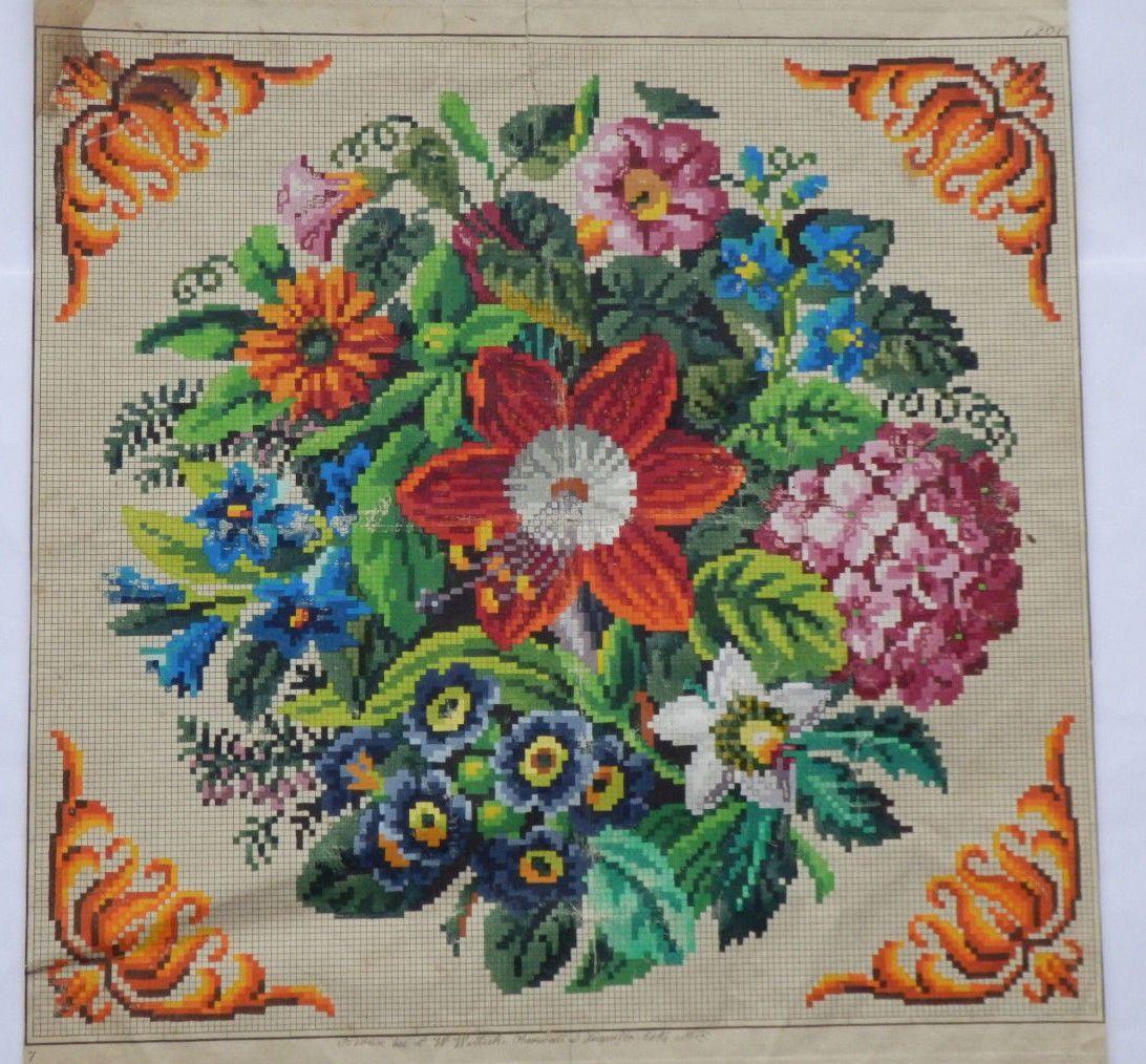 A beautiful berlin woolwork floral bouquet u pretty corners pattern