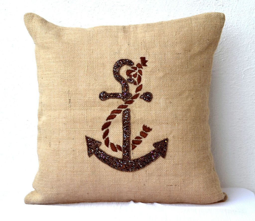 Buy Handmade Burlap Nautical Throw Pillow Covers With Anchor Sequin Anchor Throw Pillows Burlap Pillows Nautical Pillows