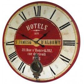 Horloge murale de salon en bois pendule balancier de cuisine hotel st james albamy 4x58x58cm for Horloge murale style bistrot