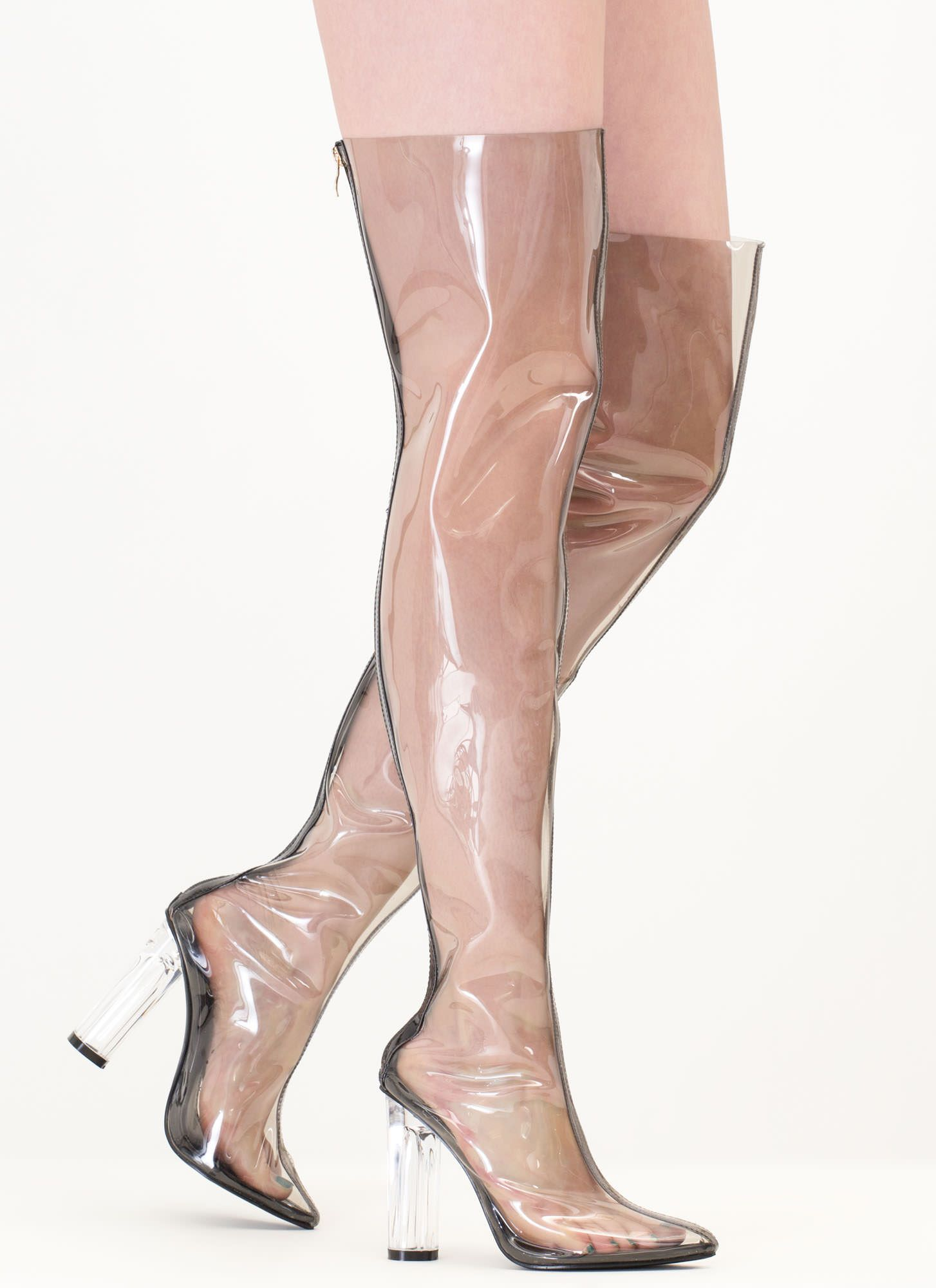 90c5e403cd6 Clear The Way Thigh-High Pointy Boots NUDE BLACK - GoJane.com