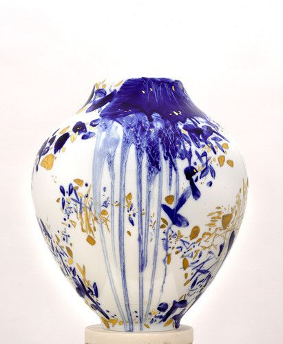 A ceramic vase painted by Chinese artist Chu Teh