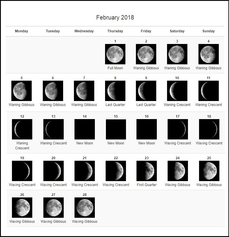 February 2018 moon phases calendar moon phase calendar