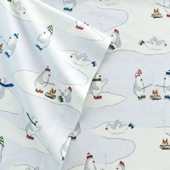 Eddie Bauer Skating Penguins Flannel Sheet Set Queen Sheet Sets Queen Holiday Inspiration King Fitted Sheet