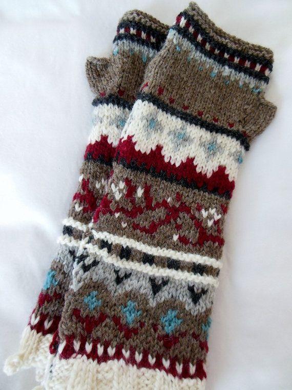 Hand knit fair isle long fingerless gloves by FunkyFernwood ...