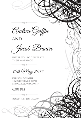 Delicate Twirls printable invitation template. Customize