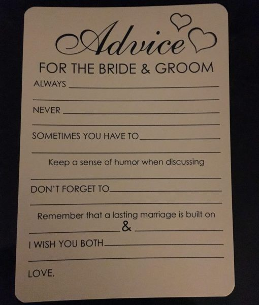 advice for the bride and groom cards diy wedding pinterest