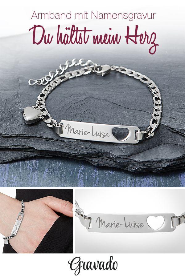 Armband mit Gravur Name - Herz - Silber - personalisiert   Besondere ...