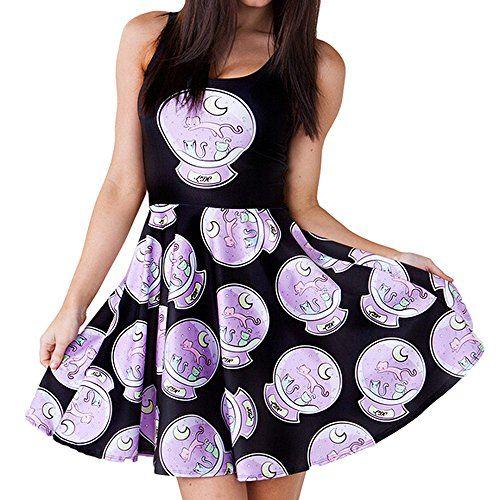 Women's Retro Style Cute Dress Crystal Ball Digital Print...…