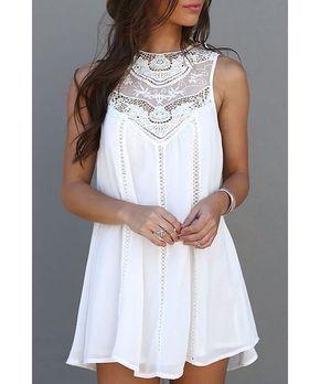 Trendy Style Round Collar Lace Splicing Chiffon Sleeveless Dress For Women