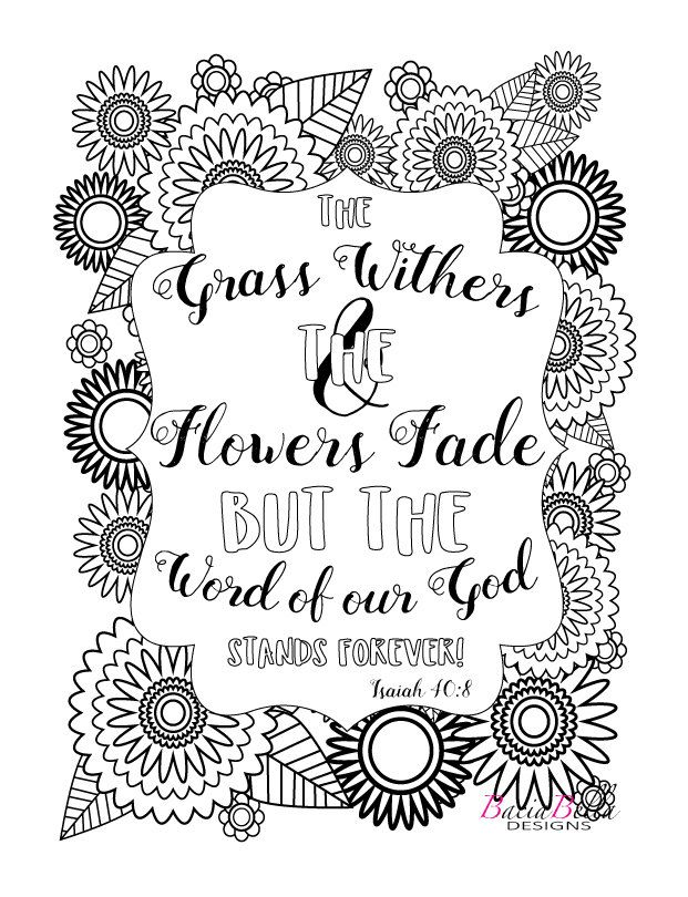 Flowers Coloring Page Isaiah 408 Adult By BaciaBellaDesign