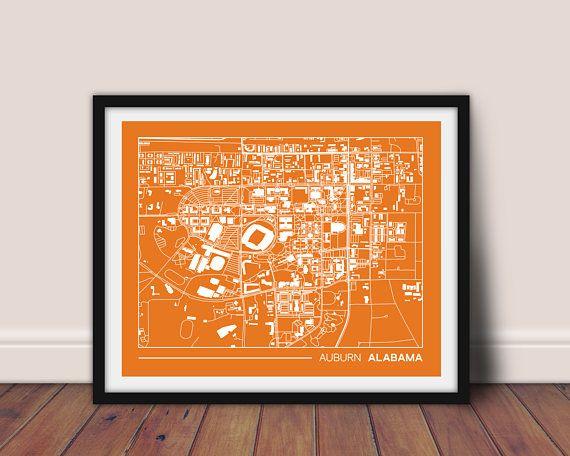 Auburn map Auburn wall art gift for college graduation gift ...