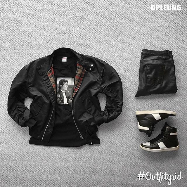 Today's top #outfitgrid is by @dpleung. ▫️ #Supreme x #MichaelJackson #Tee ▫️ #FearOfGod #Jacket ▫️ #SaintLaurent #Shoes ▫️ #RickOwens #Denim