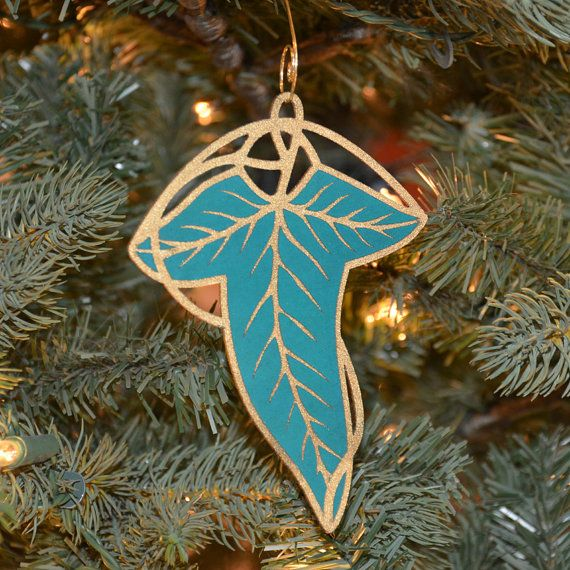 Lord Of The Rings Christmas Ornaments.Gift Elven Leaf Christmas Ornament Set Of 3 Lord Of The