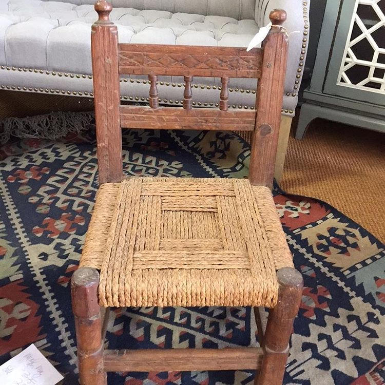 Adorable Carved Wood Child S Chair With Heavy Rope Seat