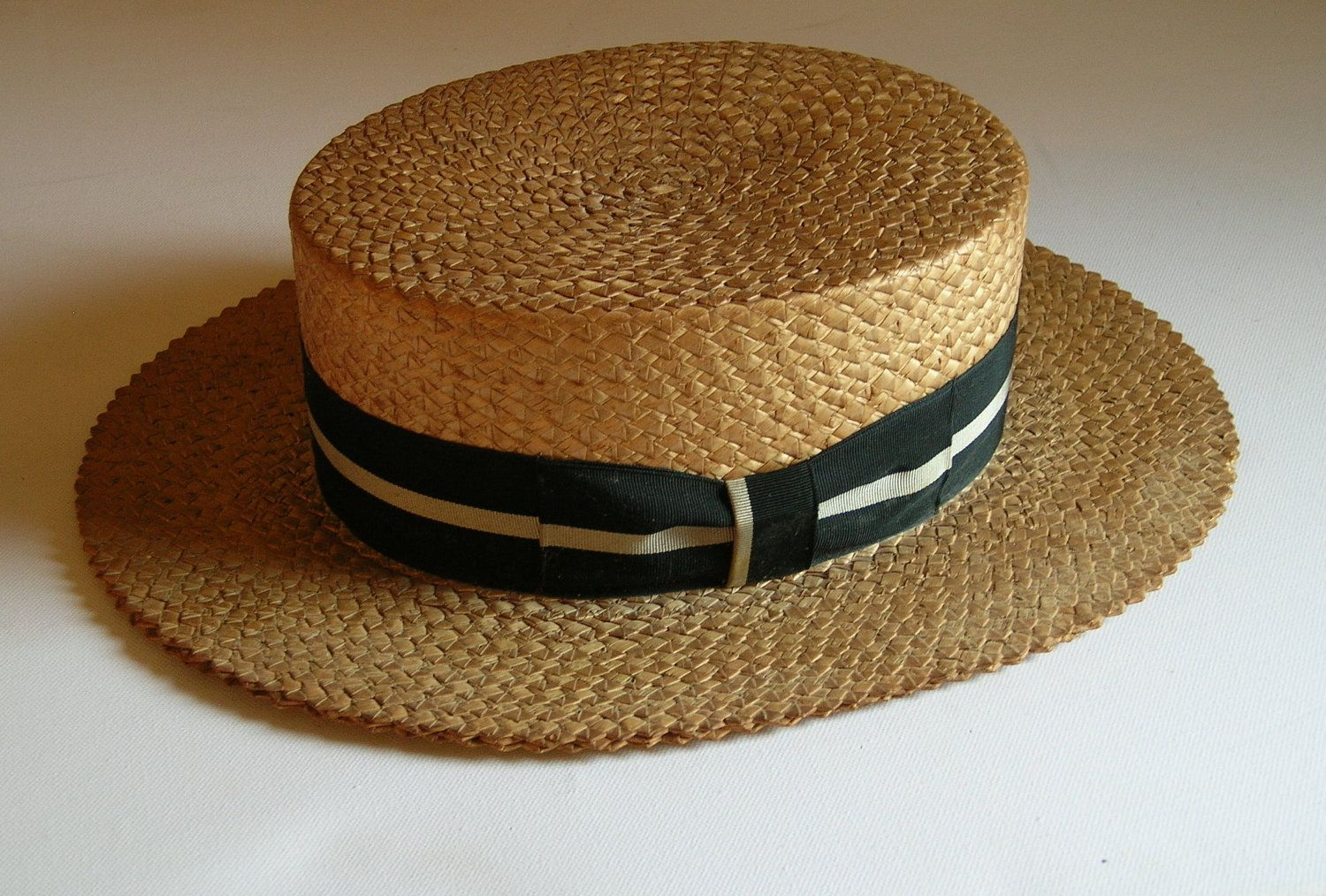 546d6c6d6ba72 Vintage Early 1900 s Men s Boater Straw Hat - a lovely hat