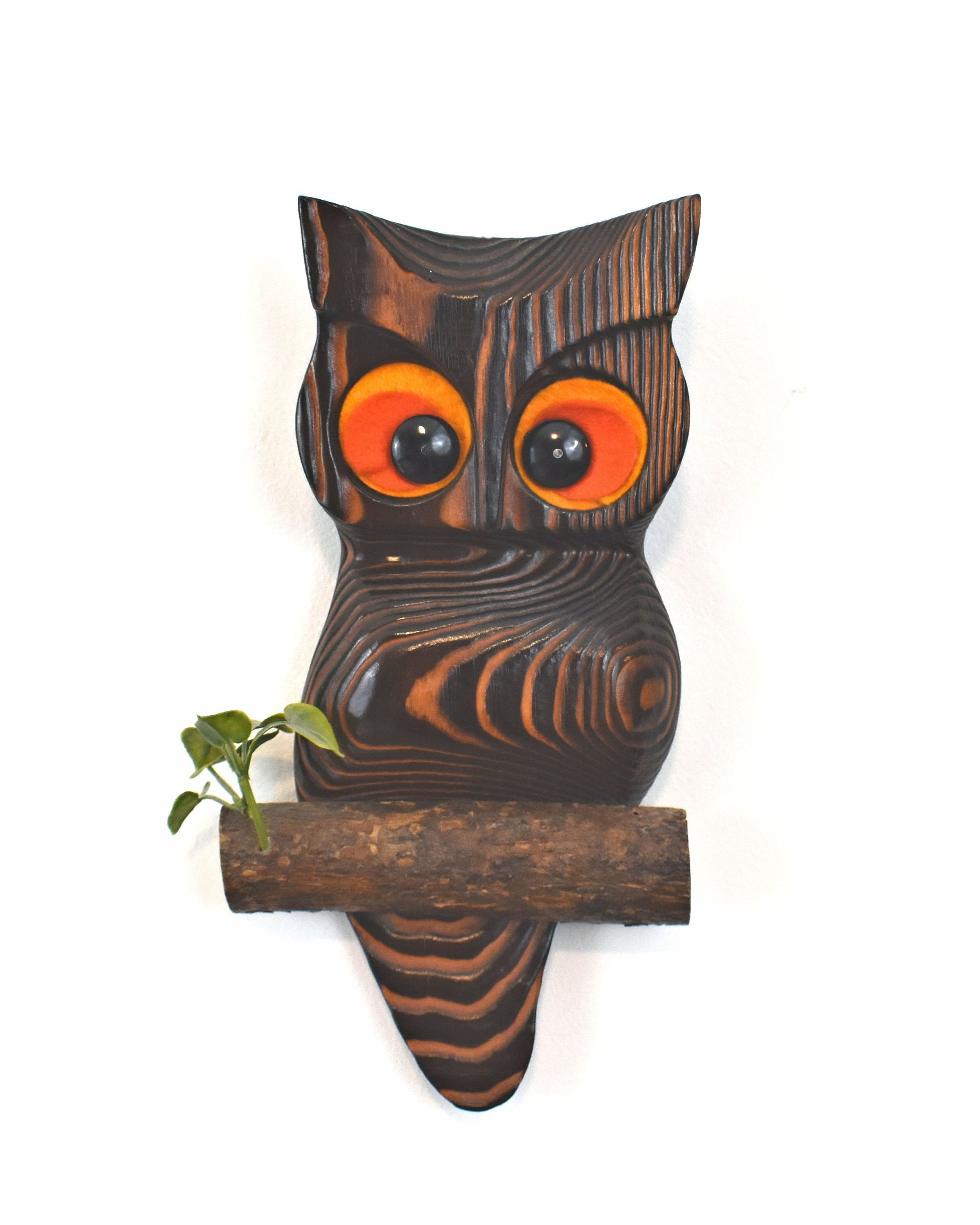 Vintage Wood Owl Wall Hanging Cryptomeria Wood Retro Owl Etsy Owl Wall Hanging Wooden Wall Design Wooden Owl