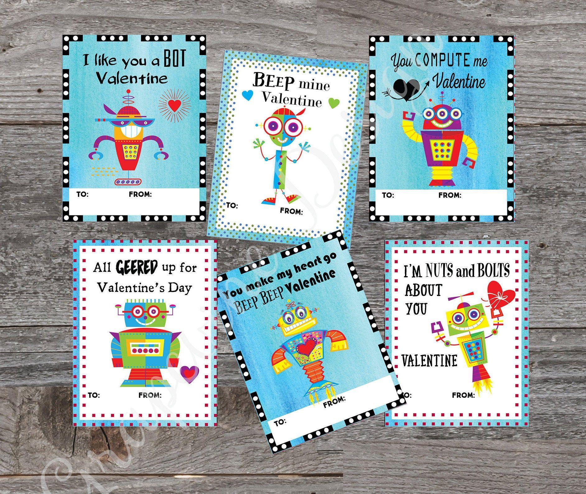Valentine Cards For Kids Robot Valentine Cards Instant