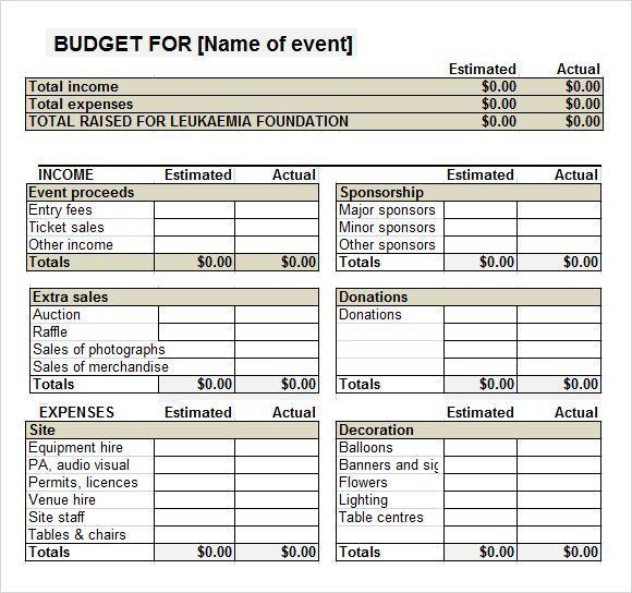 Fundraiser Event Budget Template Nonprofit Fundraising Pinterest