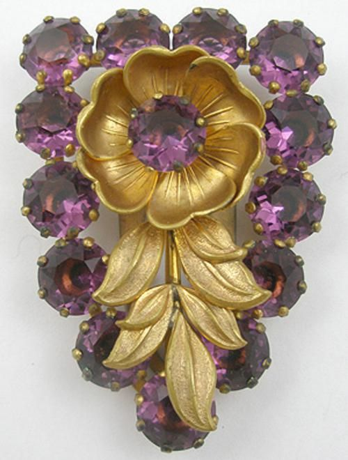 Max Neiger Amethyst Rhinestone and Flower Dress Clip - Garden Party Collection Vintage Jewelry