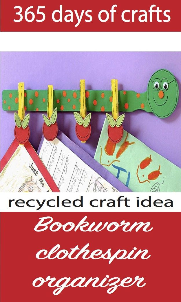 Bookworm Clothespin Organizer For Back To School A Simple Kids