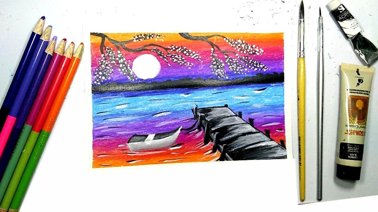 River View In The Evening Painting With Acrylic L วาดภาพระบายส ว วแม น ำ ส น ำม น