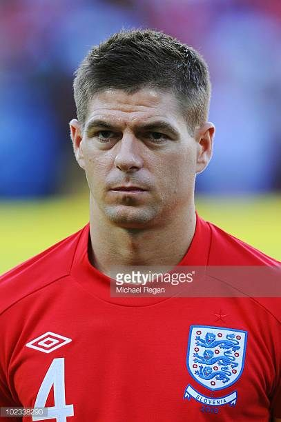 Steven Gerrard Of England Lines Up For The National Anthems Prior