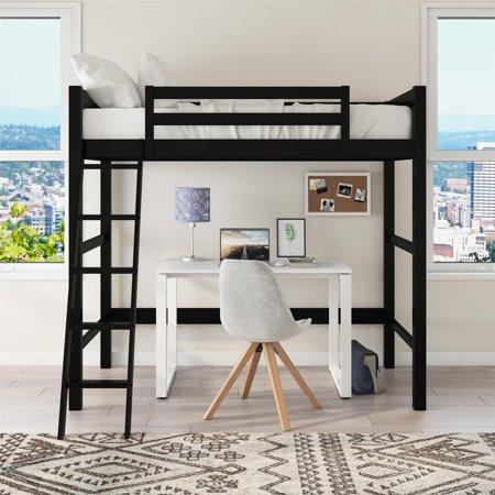 Home Wooden Bed Frames Loft Bed Frame White Wood Furniture