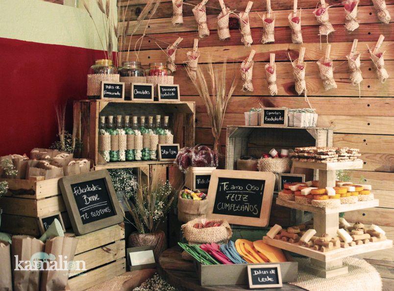 Candy bar mesa de dulces postres Decoracion de bares vintage