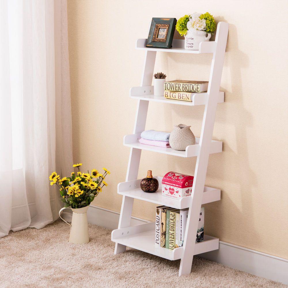 Wood white tier bookshelf leaning ladder wall shelf bookcase