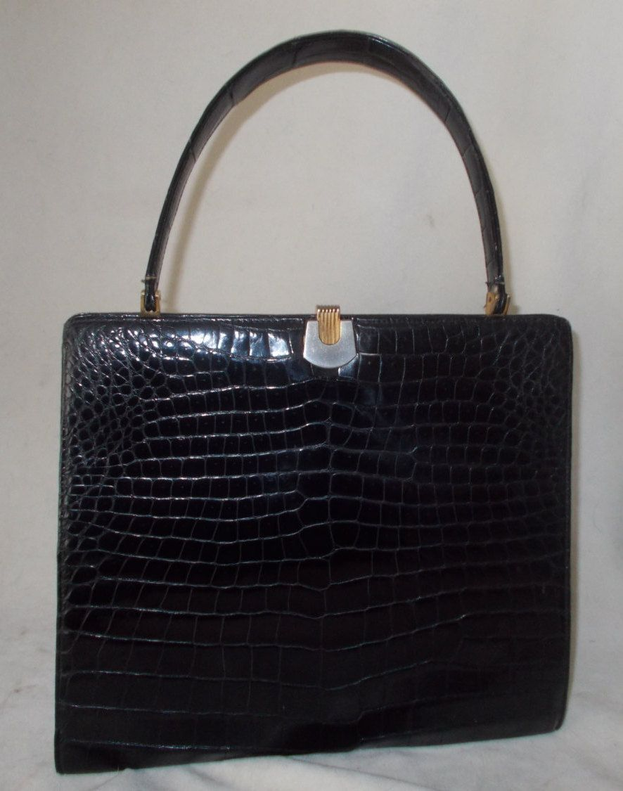 b5521615a77b Stunning huge vintage 1960 s black genuine crocodile skin handbag by  VintageHandbagDreams on Etsy