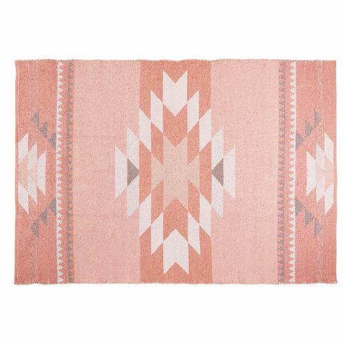 3fb1067ca142b Tapis ethnique en coton rose 180x120cm MAYA   Idées pour la maison ...